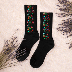 Multicolored Mini Flowers On Black Socks