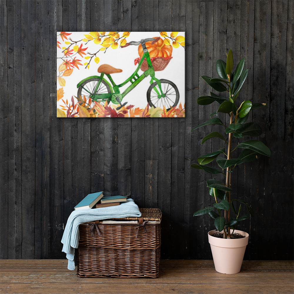 Autumn Bicycle Canvas 36x24 Inches Wall Art Decor