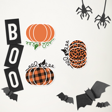 Load image into Gallery viewer, 3 Small Pumpkin Sticker Sheet Vinyl Bubble-Free Kiss Cut