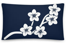 Load image into Gallery viewer, White Navy Sakura Branch Flowers Accent Pillow