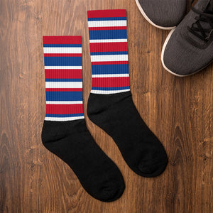Red White Blue Stripes Socks Unisex Men's Women's Teen Youth