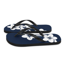 Load image into Gallery viewer, White Sakura Branch Flowers Navy Blue Flip Flops Black Straps and Sole