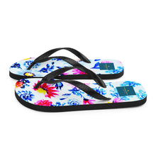 Load image into Gallery viewer, Blue Multi-Floral Flip-Flops