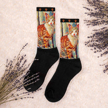 Load image into Gallery viewer, Simon Says Sit Orange Tabby Socks
