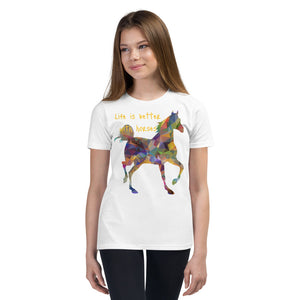 """Life is better with horses"" Youth Short Sleeve T-Shirt"