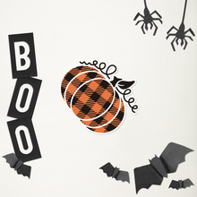 Load image into Gallery viewer, Large Plaid Pumpkin Sticker