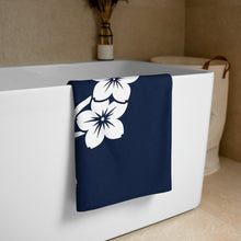 Load image into Gallery viewer, White Navy Sakura Branch Flowers Beach Gym Towel 30x60