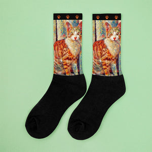 Simon Says Sit Orange Tabby Socks