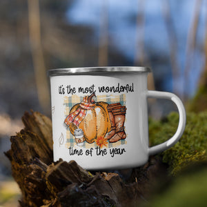 "Autumn Fall Enamel Mug ""It's the most wonderful time of the year"" 12 Ounces Stainless Steel"