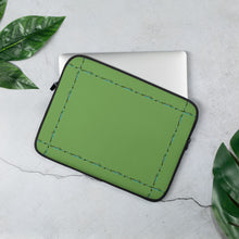 "Load image into Gallery viewer, Green Laptop Sleeve With Our ""Simply Elegant Green"" Border"