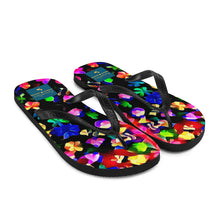 Load image into Gallery viewer, Little Things Matter Flip Flops Multicolored Flowers On Black