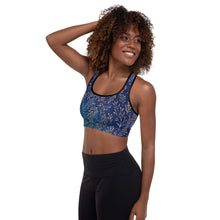 Load image into Gallery viewer, Cerulean Gold Leaf Padded Sports Bra