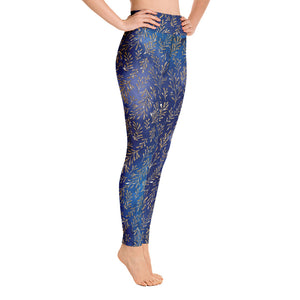 Women's Cerulean Gold Leaf Yoga Leggings