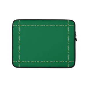 "Green#1 Laptop Sleeve With Our ""Simply Elegant Green"" Border"