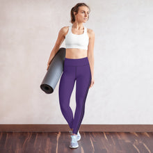 Load image into Gallery viewer, AutumNest Purple Black Stripes Yoga Leggings