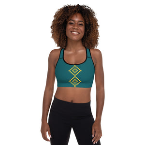 Turquoise Gold Padded Sports Bra