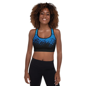Women's Essential Blue and Black Padded Sports Workout Bra/Shirt