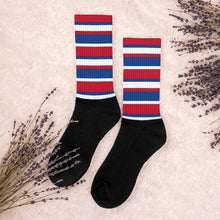 Load image into Gallery viewer, Red White Blue Stripes Socks Unisex Men's Women's Teen Youth