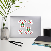 Load image into Gallery viewer, 4 Medium/Small Paired Candy Canes Sticker Sheet Bubble-Free Kiss Cut