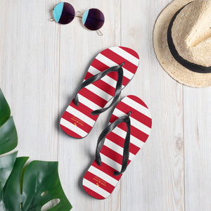 Red White Stripes Flip-Flops Nautical