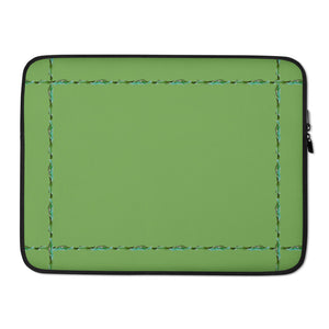 "Green Laptop Sleeve With Our ""Simply Elegant Green"" Border"
