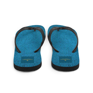 Faux Blue Tweed Flip-Flops