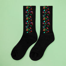 Load image into Gallery viewer, Multicolored Mini Flowers On Black Socks