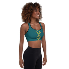 Load image into Gallery viewer, Turquoise Gold Padded Sports Bra