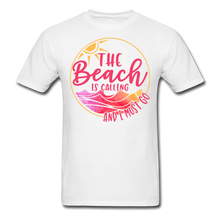 "Load image into Gallery viewer, ""The beach is calling and I must go"" Men's Tee Fruit of the Loom - white"