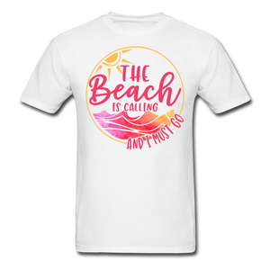 """The beach is calling and I must go"" Men's Tee Fruit of the Loom - white"