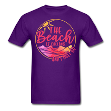 "Load image into Gallery viewer, ""The beach is calling and I must go"" Men's Tee Fruit of the Loom - purple"