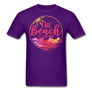 """The beach is calling and I must go"" Men's Tee Fruit of the Loom - purple"
