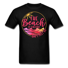 "Load image into Gallery viewer, ""The beach is calling and I must go"" Men's Tee Fruit of the Loom - black"