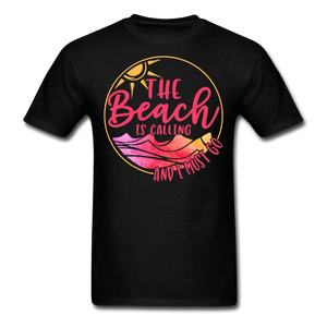 """The beach is calling and I must go"" Men's Tee Fruit of the Loom - black"