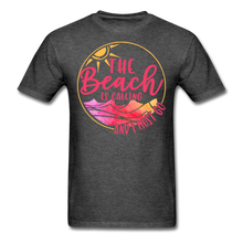 "Load image into Gallery viewer, ""The beach is calling and I must go"" Men's Tee Fruit of the Loom - heather black"
