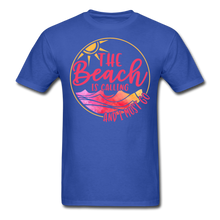 "Load image into Gallery viewer, ""The beach is calling and I must go"" Men's Tee Fruit of the Loom - royal blue"