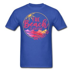 """The beach is calling and I must go"" Men's Tee Fruit of the Loom - royal blue"
