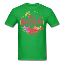 "Load image into Gallery viewer, ""The beach is calling and I must go"" Men's Tee Fruit of the Loom - bright green"