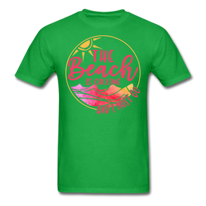 """The beach is calling and I must go"" Men's Tee Fruit of the Loom - bright green"