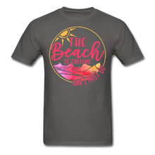 "Load image into Gallery viewer, ""The beach is calling and I must go"" Men's Tee Fruit of the Loom - charcoal"
