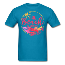 "Load image into Gallery viewer, ""The beach is calling and I must go"" Men's Tee Fruit of the Loom - turquoise"