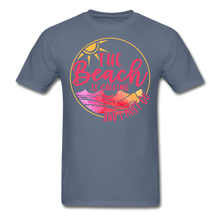 "Load image into Gallery viewer, ""The beach is calling and I must go"" Men's Tee Fruit of the Loom - denim"