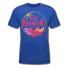 "Load image into Gallery viewer, ""The beach is calling and I must go"" Men's Tee Fruit of the Loom - mineral royal"