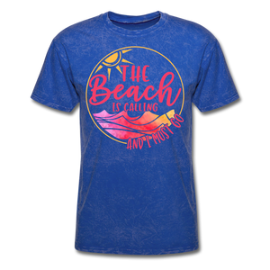 """The beach is calling and I must go"" Men's Tee Fruit of the Loom - mineral royal"
