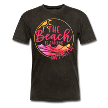 "Load image into Gallery viewer, ""The beach is calling and I must go"" Men's Tee Fruit of the Loom - mineral black"