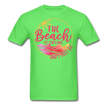 "Load image into Gallery viewer, ""The beach is calling and I must go"" Men's Tee Fruit of the Loom - kiwi"