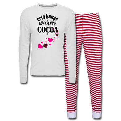 Cold Hands Warm Cocoa Hearts Unisex Pajama Set - white/red stripe