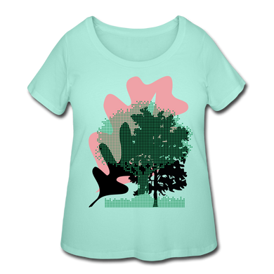 Women's Curvy Plus Arboreal (Trees) T-Shirt Nature - mint