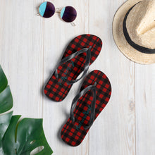 Load image into Gallery viewer, Red Black Plaid Flip-Flops