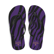 Load image into Gallery viewer, Animal Lover Zebra Purple Flip Flops